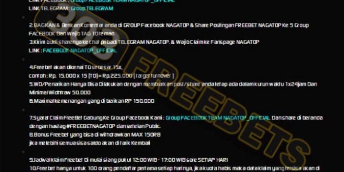 NAGATOP SITUS FREEBET GRATIS TANPA DEPOSIT Rp 15.000